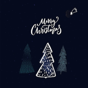 Merry christmas greeting card design. winter forest illustration with glitter shine effect on spruces.