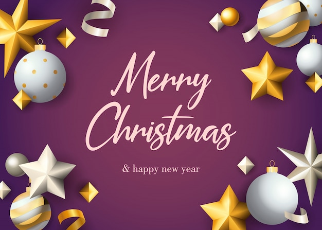 Merry christmas greeting card design with baubles