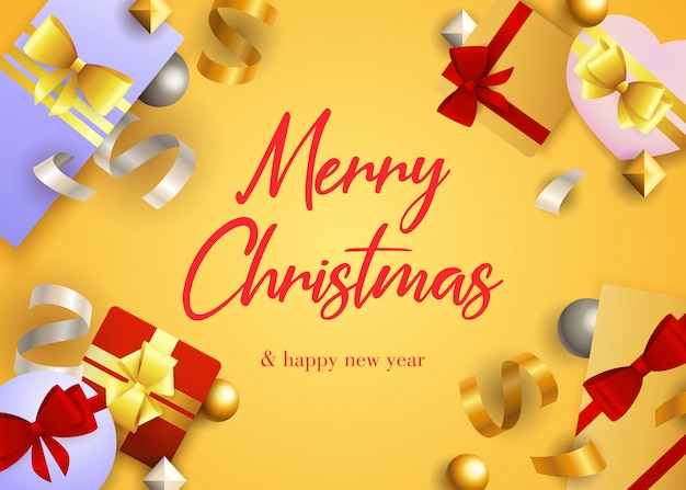 Merry christmas greeting card design with gifts