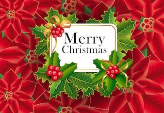 Merry Christmas greeting card design. Xmas berries