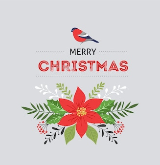 Merry christmas greeting card in elegant, modern and classic style with leaves, flowers and bird