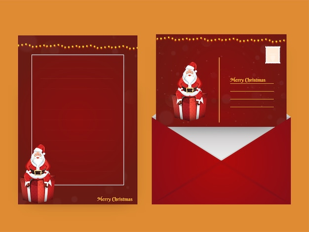 Merry christmas greeting card or empty letter with double-sides envelope in red color