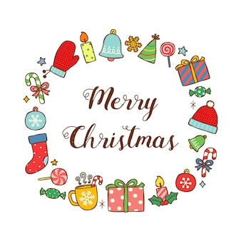 Merry christmas greeting card in flat style