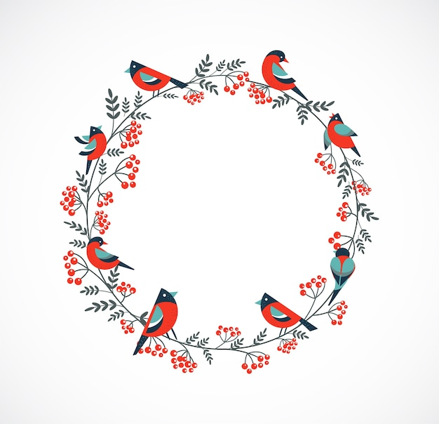 ロビンと花の要素を持つメリークリスマスグリーティングカードフレーム。