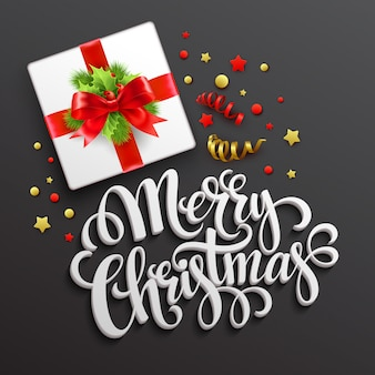 Merry christmas greeting card. gift box, greeting card.