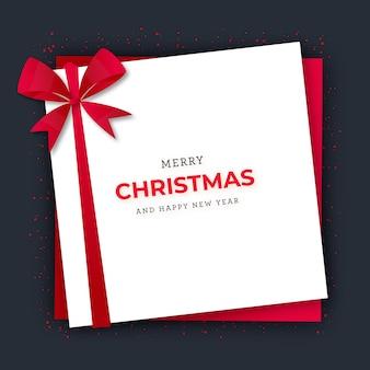 赤いリボンのメリークリスマスグリーティングカードギフトボックス