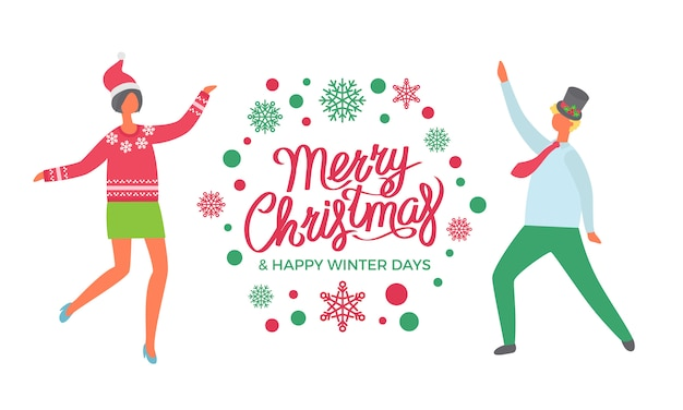 Merry christmas greeting card, happy winter days, dancing people