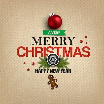 メリークリスマスグリーティングカード-休日のレタリングとクリスマスの飾り。