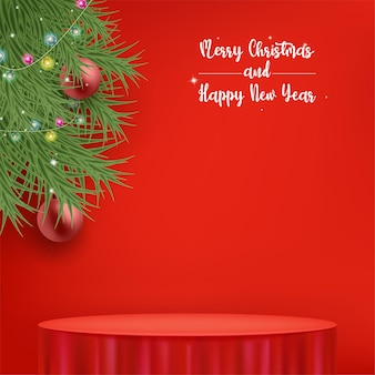 Merry christmas greeting card or invitation with tablecloth