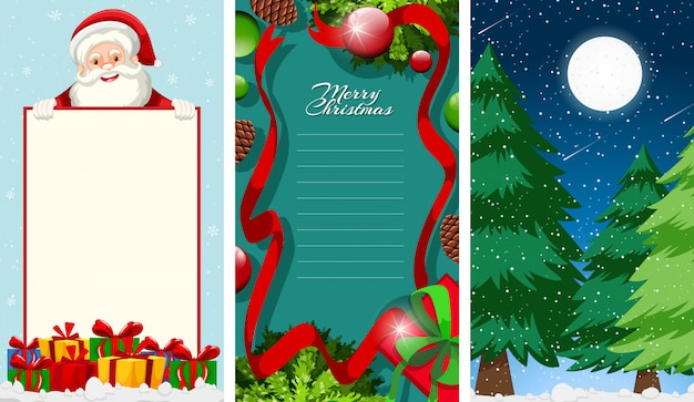 Merry christmas greeting card or letter to santa with text template