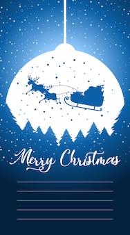 Cartolina d'auguri o lettera di buon natale a santa con il modello del testo