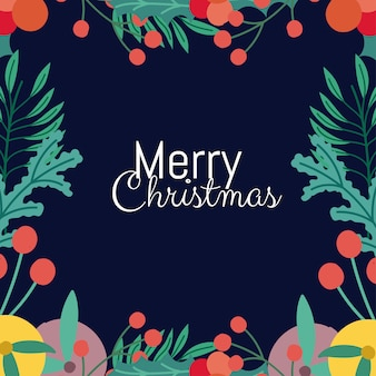 Merry christmas greeting card lettering holly berry fruits frame
