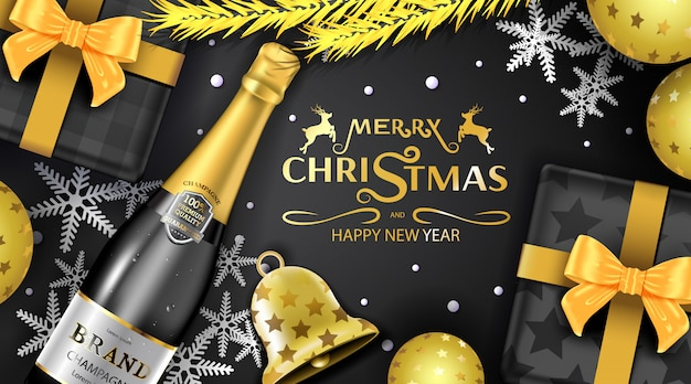Merry christmas greeting card luxury background