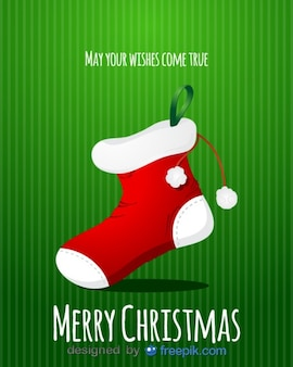 크리스마스 양말의 메리 크리스마스 인사말 카드