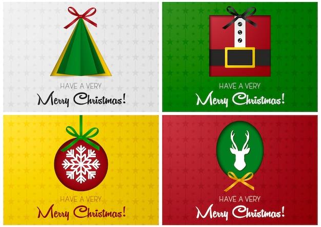 メリークリスマスのグリーティングカードまたはバナーは、木、サンタ、鹿、クリスマスボールを紙から刈り込んで設定します。ウェブサイトの雑誌、インフォグラフィック、広告など、イラストのデザインテンプレート