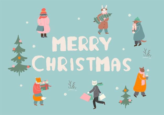 메리 크리스마스 인사말 카드 또는 포스터. 동물들은 겨울 방학을 준비하고 있습니다. 제도법.