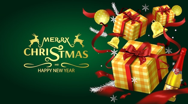 Merry christmas greeting card and party invitations luxury background