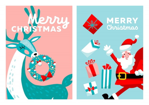 Merry christmas greeting card set. cartoon hand drawn reindeer character with wreath and santa claus with gift boxes.