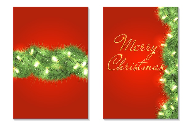 Merry christmas greeting card set. christmas tree branches with sparkle lights. holiday garland. golden text.