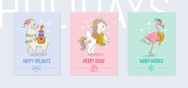 Merry christmas greeting card set. cute tropical animals posters with llama, unicorn pony, flamingo
