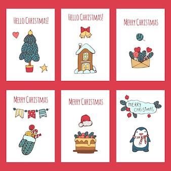 Merry christmas greeting card set with cute xmas tree, santa and deer, retro designs.