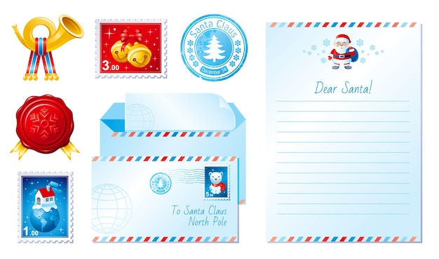 Merry christmas greeting card set with letter for santa claus