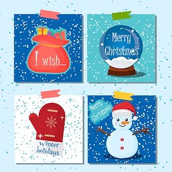 메리 크리스마스 인사말 카드 눈 배경으로 설정합니다. 크리스마스 인사말 카드 겨울 휴가 배경. 메리 크리스마스 레터링 벡터 일러스트 겨울 배경입니다. 종이 엽서 선물.
