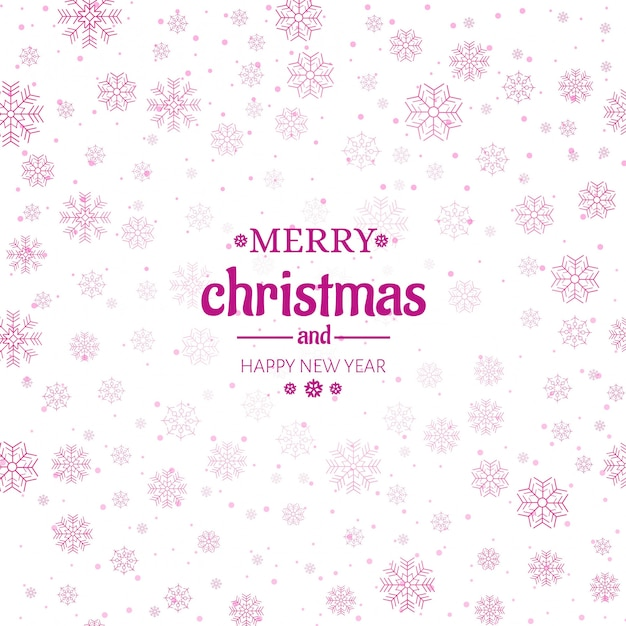 Merry christmas greeting card snowflakes background