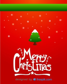 Merry christmas greeting card of snowy christmas tree and snowflakes