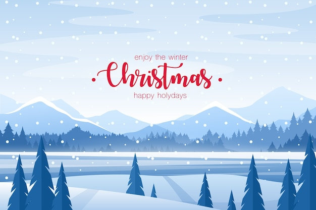 Merry christmas greeting card. snowy field and frost fir forest, mountains, horizon xmas background