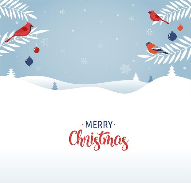 Шаблон поздравительной открытки с рождеством, баннер и фон в элегантном, современном и классическом стиле с зимним пейзажем
