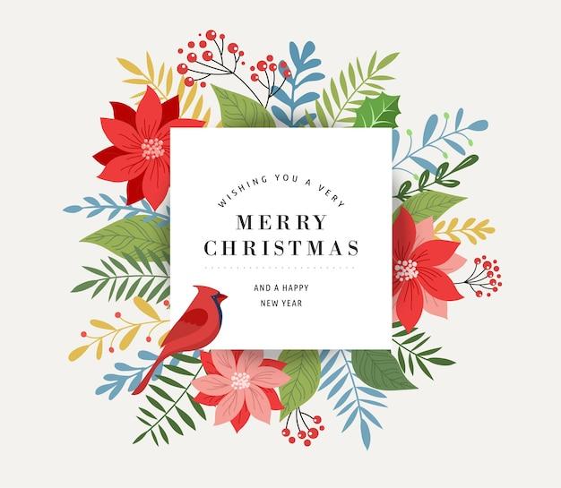 メリークリスマスグリーティングカードテンプレート、バナー、葉のあるエレガントでモダンでクラシックなスタイル