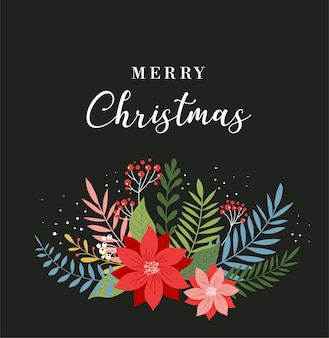 Merry christmas greeting card template, banner and background in elegant, modern and classic style with leaves, flowers and bird