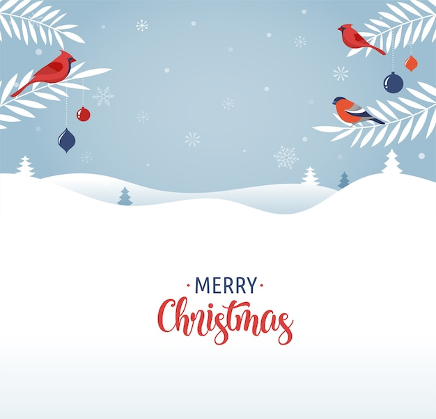 Merry christmas greeting card template, banner and background in elegant, modern and classic style withwith winter landscape