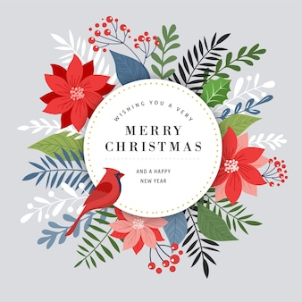Merry christmas greeting card template, banner and in elegant, modern and classic style with leaves