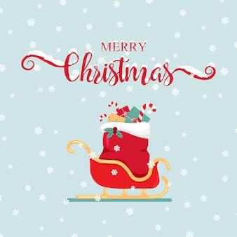 Шаблон поздравительной открытки с рождеством христовым рождественские рукописные надписи с санями санта-клауса