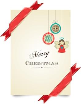 С рождеством христовым шаблон поздравительной открытки с красными лентами и рождественскими украшениями. фон для баннера или плаката