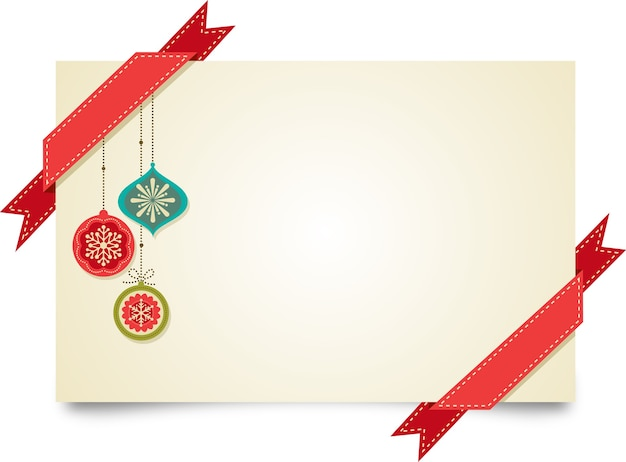 Merry christmas greeting card template with red ribbons and christmas decorations