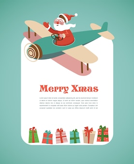 Merry christmas greeting card template with santa in an airplane