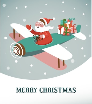 Merry christmas greeting card template with santa in an airplane.