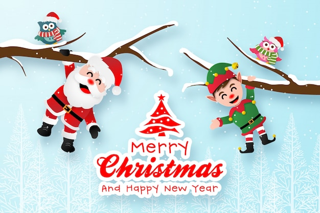 Merry christmas greeting card template with santa claus and elf hanging on the branch