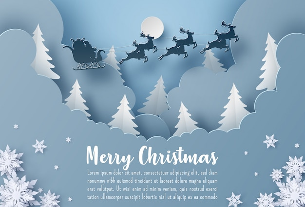 Merry christmas greeting card template with santa claus and reindeer flying on the sky