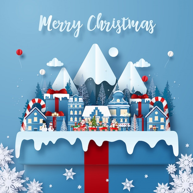 Merry christmas greeting card template with train in town on a big gift box with santa claus