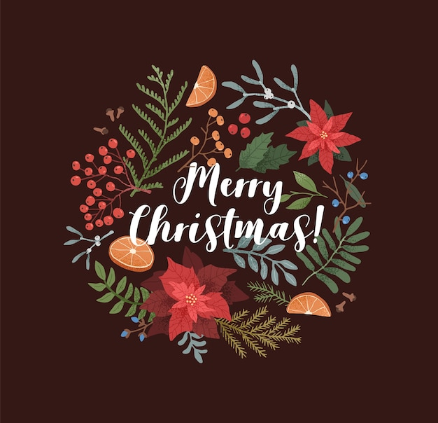 Merry christmas greeting card template. xmas botanical border. poinsettia, mistletoe, ilex, mountain ash wreath on black background. colorful winter festive lettering. typography with seasonal plants.