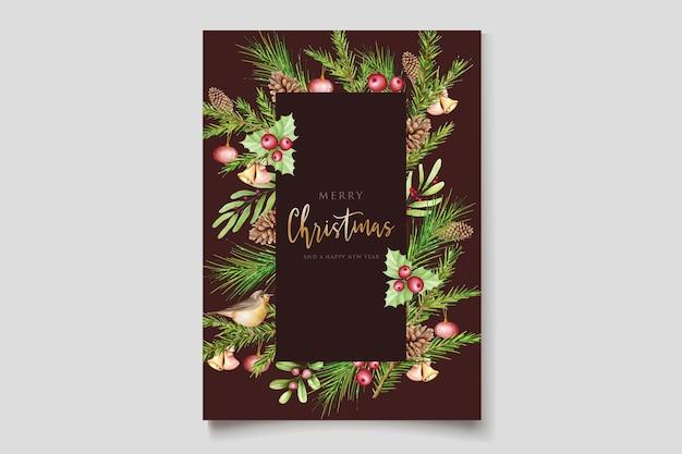 メリークリスマスグリーティングカードテンプレート