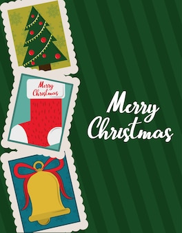 Merry christmas, greeting card tree stocking and bell decoration stamp icons illustration
