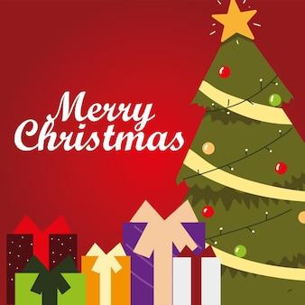 Рождественская открытка с елкой с шарами и подарочными коробками