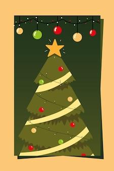 Счастливого рождества поздравительная открытка елка с иллюстрацией украшения звезды и шариков Premium векторы