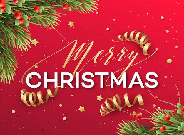 メリークリスマスグリーティングカードベクトルテンプレート。ストリーマー、キラキラ、星、モミの木の枝、ヤドリギの小枝が付いたメリークリスマスのレタリング。赤いクリスマスの休日のポスター、バナー、グリーティングカードのデザイン