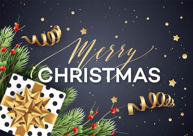 Merry christmas greeting card vector template. merry christmas lettering with streamers, glitter, stars, fir tree branches, mistletoe twigs and present with golden bow. xmas holiday banner design